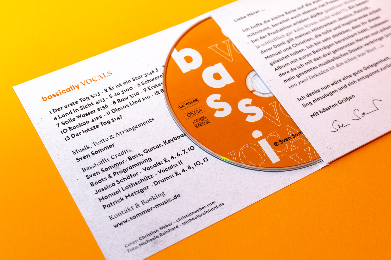Innenseite und CD für CD-Cover für Sven Sommer © Christian Weber – Büro für Gestaltung und Kommunikation